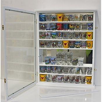 Large 72 Shot Glass Display Case Cabinet Rack Holder-Glass Door, Mirror Back (White Finish)
