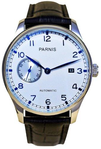 PARNIS Automatik Herrenuhr Modell 2015, mechanische Armbanduhr, SeaGull Uhrwerk, automatischer Aufzug, Herrenuhr, Edelstahl, Lederarmband, von LIV MORRIS