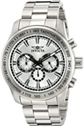 Invicta Men's 'Speedway' Quartz Stainless Steel Automatic Watch, Color:Silver-Toned (Model: 21794)