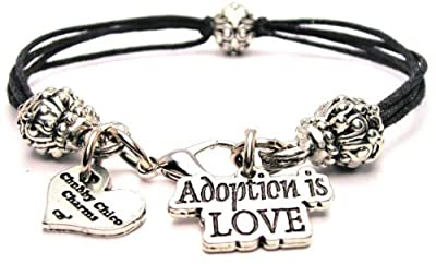 Adoption Is Love Black Cord Pewter Beaded Bracelet