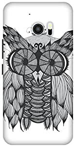 The Racoon Grip printed designer hard back mobile phone case cover for HTC 10. (Owl)