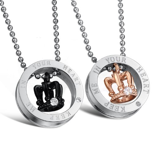 Opk Jewellery Necklaces Stainless Steel Neckwear Crown Pendants Circular Couple Necklets With Gift Box