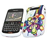 ITALKonline ProGel RAINBOW FRENZY WHITE YELLOW BLUE BUTTERFLY Super Hydro Gel TPU Protective Armour/Case/Skin/Cover/Shell for BlackBerry 9700 Bold, 9780 Onyx
