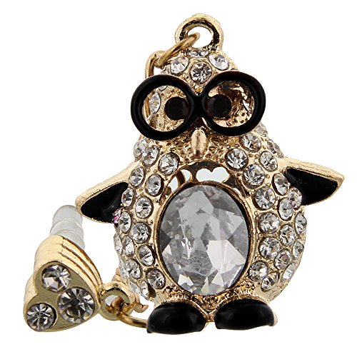 Miniturtle, Universal Mobile Accessory Crystal Rhinestone Bling Anti Dust Plug Cap Cell Phone Charm For 3.5 Mm Headphone Jack On Apple Iphone 4 5, Samsung Galaxy S4 S5, Lg G Flex, Htc One M8, Zte Majesty Z796C Unico Z930, And More (Black Penguin)