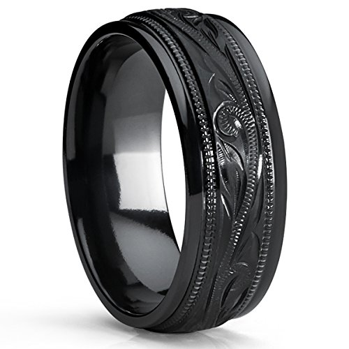Men'S Hand Engraved Floral Black Plated Titanium Wedding Band Engagement Ring, Dome 8Mm Size 13
