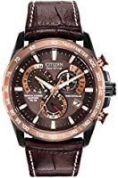 Citizen Watch Perpetual Chrono A.T Men's Quartz Watch with Brown Dial Analogue Display and Brown Leather Strap AT4006-06X