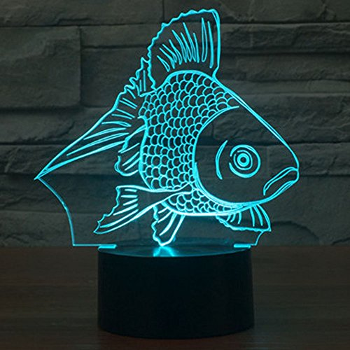 Goldfish 3D Illusion Lamp, Elstey 7 Color Changing Touch Table Desk LED Night Light Great Gifts
