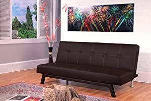 Ella futon sofa bed in black faux leather by Active beds