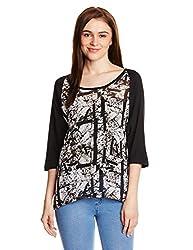 PrettySecrets Women's Body Blouse Shirt  (PSW14BLS37_Black, White and Multi Color_L)