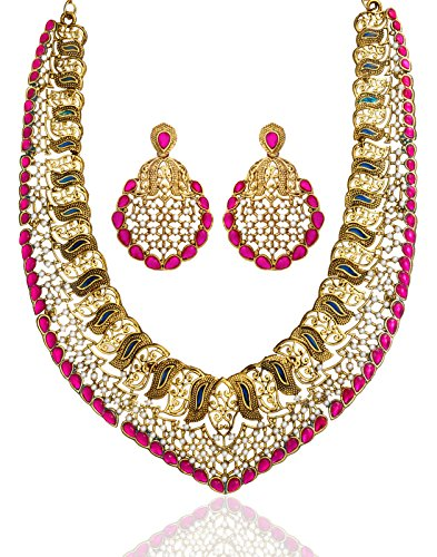 Zaveri Pearls Pearl Multi-Colour Choker Necklace With Earrings Set For Women