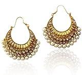 Ethnic pearl polki earring by adiva ansatocoo46ACEAZ002WH