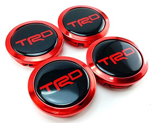 TRD Red Chrome Center Wheel Hub Caps Cup Cover Size 58mm. Set of 4pcs. (Bullitt Emblem compare prices)
