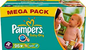 Pampers - 81329932 - Baby Dry Couches - Taille 4+ - Maxi+ 9-20 Kg - Mégapack x 96