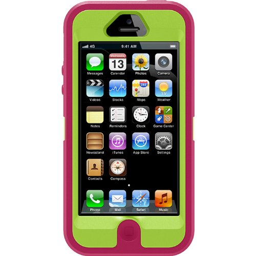 Great Sale Otterbox Defender Series Case for Iphone 5 - Retail Packaging -Peony Pink / Glow Green / Black