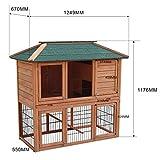 Hasenstall Kaninchenstall Freilaufgehege im Untergeschoss Fichtenholz Teerdach Kleintierstall -