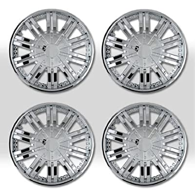 "14"" 10 Spikes Chrome Finished Hubcap Covers Brand New Set of 4 Pieces 14 Inch Rim Cover 529"