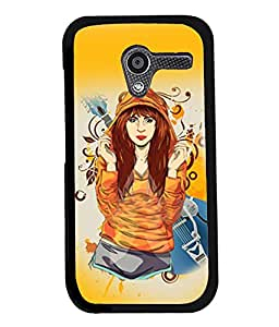 Fuson Music Lover Girl Back Case Cover for MOTOROLA MOTO X - D3920