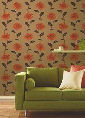 Gerbera Floral Print Luxury Vinyl Wallpaper Natural Flower Leaf