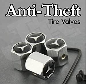 Mercedes Benz Logo Anti-Theft Tire Valve Caps by AA