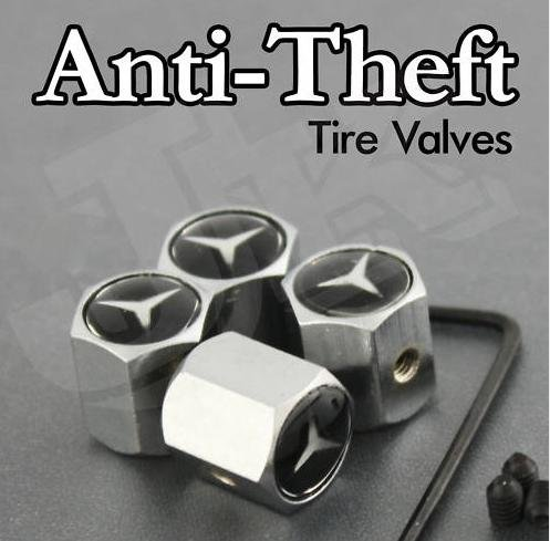 Mercedes benz logo anti theft tire valve caps great chance for Mercedes benz tire inflator
