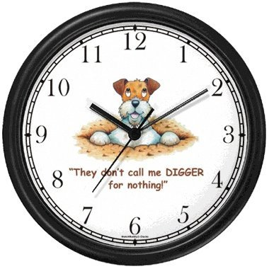 Wire Fox Terrier Dog Cartoon or Comic - JP Animal Wall Clock by WatchBuddy Timepieces Black Frame