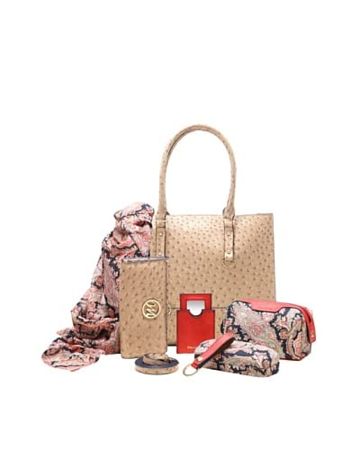 Emilie M. Women's Kimberley Ostrich Tote + Essentials Box, Sand Ostrich As You See