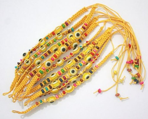 10 Evil Eye Yellow String Ethnic Bracelets Lucky Eye Charm Bead Success Bracelet