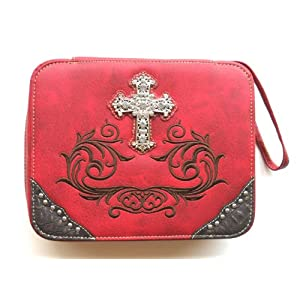 Bible Cover for Women Large Western Designer Red Leather-like