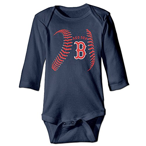 ElishaJ Boston Sport Baseball Logo Babys Unisex Long Sleeve Infant Snapsuit Navy Size 6 M