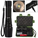 Flashlight Rechargeable, Amz vision Water Resistant & SkidProof Design, Zoomable 5 Modes Super Bright High Power Led Flashlight