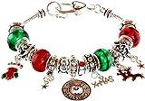 "Lova Jewelry ""I see it's Christmas"" Murano Glass Beaded Charm Bracelet"