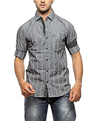 Groove Men Cotton Turquoise Casual Shirt (X-Large)