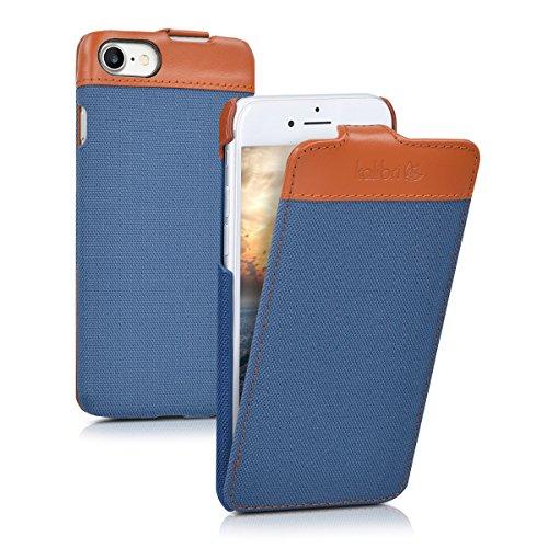 kalibri-Flip-Case-Hlle-Emma-fr-Apple-iPhone-7-Aufklappbare-Stoff-und-Echtleder-Schutzhlle-Tasche-im-Flip-Cover-Style-in-Blau-Braun