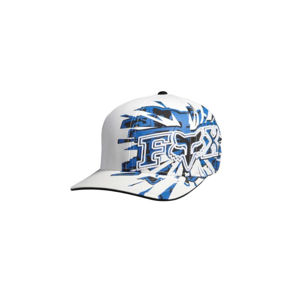 Fox Racing Quasar Mens Flexfit Race Wear Hat/Cap   Color White, Size X Small/Small