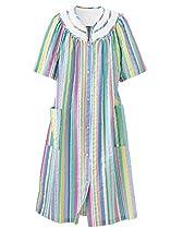 National Rainbow-Stripe Plisse House Coat, Multi, Large - Misses, Womens