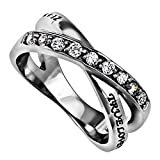 True Love Waits Purity Ring, Christian Bible Verse, Church Chastity Ceremony, Weave Band with Simulated CZ Stones (7)