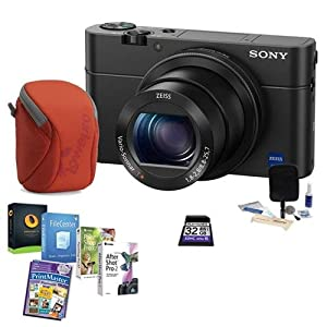 Sony Cyber-shot DSC-RX100 IV Digital Camera, Black - Bundle With 32GB Class 10 SDHC Card, Camera Case, Cleaning Kit, Software Package