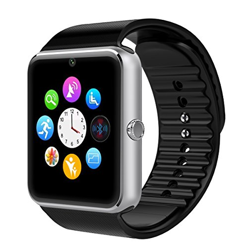 Smart Watch, Otium One Bluetooth Smart Watch with SIM Card Slot for IOS iPhone, Android Samsung HTC Sony LG Smartphones Silver-Black