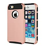 iPhone 5 Case, iPhone 5s Case, MTRONX™ Shockproof Heavy Duty Durable Hybrid Hard Soft TPU Armor Defender Case Cover Bumper For Apple iPhone 5, iPhone 5s, iPhone SE - Rose Gold/Black(HC-RGBK)
