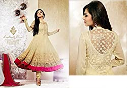 Shree Fashion Woman's Georgette With Dupatta [Shree (101)_Cream]