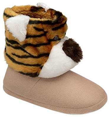 NEW DUNLOP WOMENS GIRLS BOYS NOVELTY PLUSH SLIPPERS BOOTS TIGER FACE BOOTIES CHILDRENS LADIES SIZE 5-6