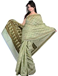 Exotic India Kora Cotton Sari From Banaras With All-Over Floral Weave By Hand