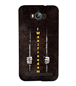 Fuson Premium Back Case Cover I want Freedom With Brown Background Degined For Asus Zenfone Max