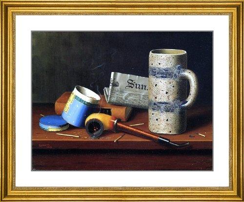 "William Michael Harnett Still Life With Blue Tobacco Box - 23.5"" X 27.5"" Matted Framed Premium Archival Print"