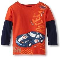 Watch Me Grow! by Sesame Street Baby-boys Infant Racecar Mock Twofer Shirt, Orange Dark, 24 Months