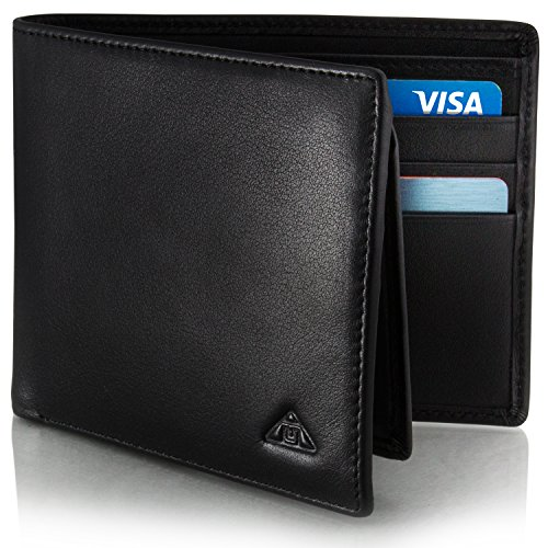 Motion Trend Men's RFID Wallet - Leather RFID Blocking Wallet Black (L)