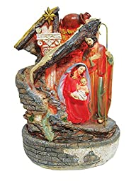 15 Inch Holy Family with Light and Water Fountain