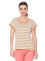 Cortefiel Camiseta Pack X2 Rayas (Naranja / Blanco)