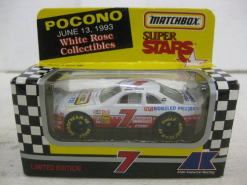 1993 Super Stars #7 Jimmy Hensley Pocono June 13th 1993 White Rose Collectibles Nascar In White & Red Diecast 1:64 Scale By Matchbox - 1