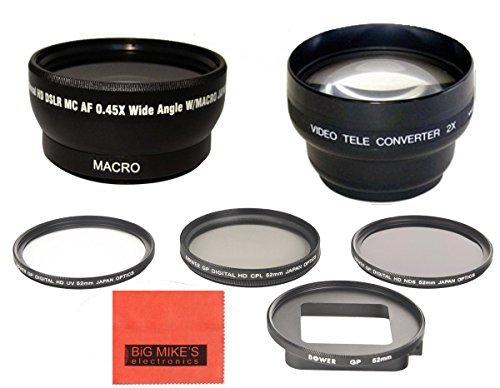 52Mm Multi-Coated 3 Piece Filter Kit (Uv-Cpl-Fld) + Wide Angle + Telephoto Lens For Gopro Hero3+ Camera
